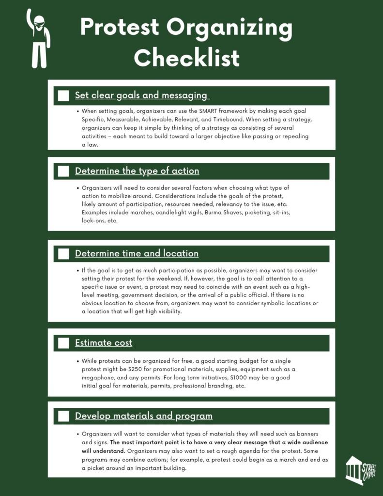 protest organizing checklist
